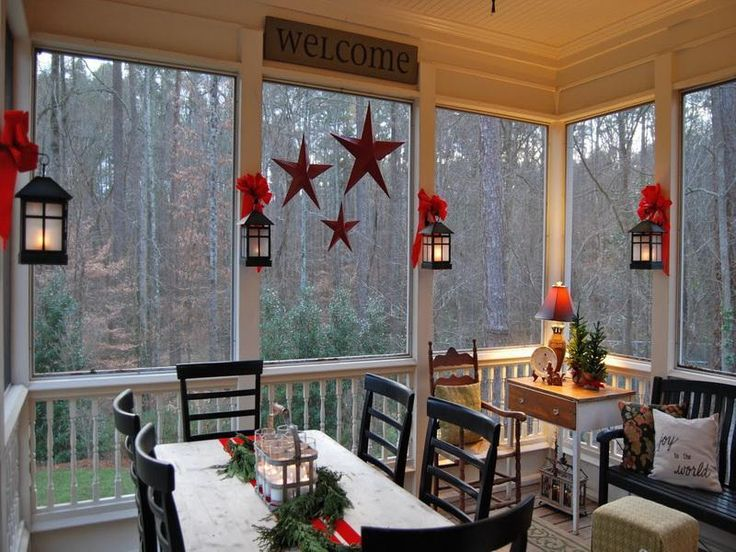 Country christmas porch i would love to do this with our back deck enclose it christmas - Indoor porch furniture ideas ...
