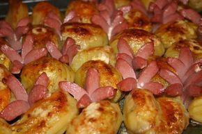 Überbackene Kartoffeln mit Bockwurst