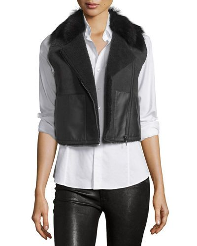 Elie+Tahari+Lana+Cropped+Lamb+Shearling+Vest+|+Clothing