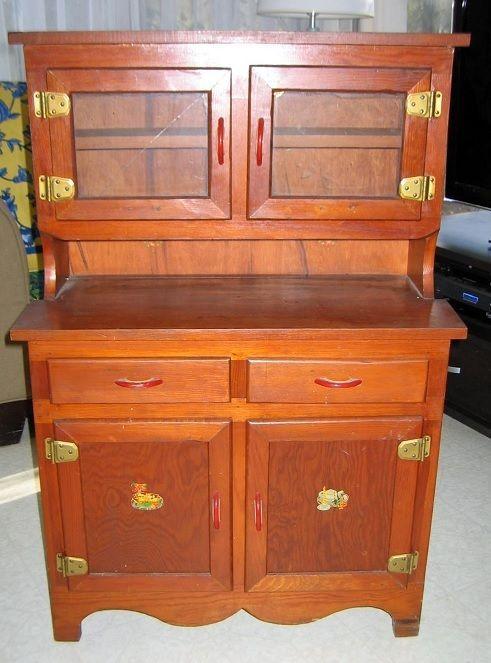 Vintage Childu0027s Wood Step Back Kitchen Cabinet Cupboard Hutch