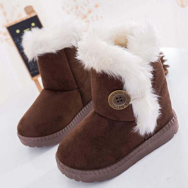 2016 Winter Children Boots Bailey Button Thick Warm Shoes Plush Suede Boys Girls Snow Boots Ugs Kids Australia Shoes Baby Boots
