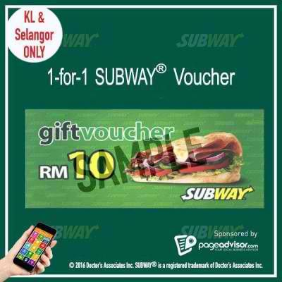 24 May 2016 Onward: Subway Voucher Buy 1 FREE 1 Promotion