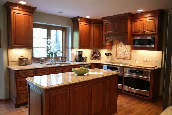Cherry cabinet kitchen remodel northern home improvement for Remodel kitchen cabinets and countertops