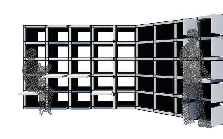 Configuration View A; 041188 Modular Bookcase; 2N Architectural Design; www.nikosnasis.com