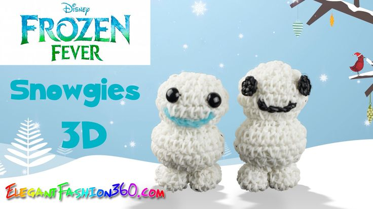 Rainbow Loom Frozen Fever Snowgies(Baby Snowman) 3D Charm - How to Loom ...