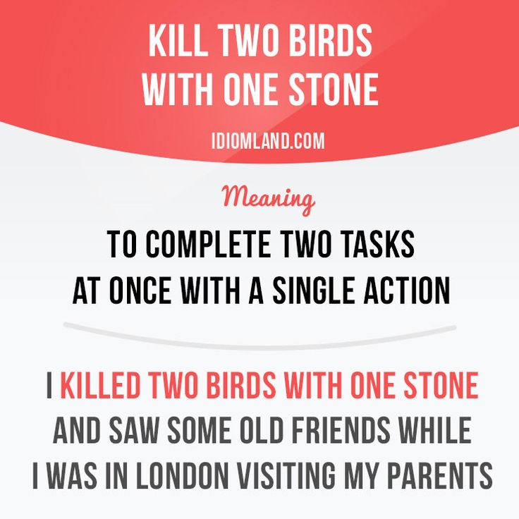 """Kill two birds with one stone"" means ""to complete two tasks at one time with a single action"". Example: I killed two birds with one stone and saw some old friends while I was in London visiting my parents. Get our apps for learning English:..."