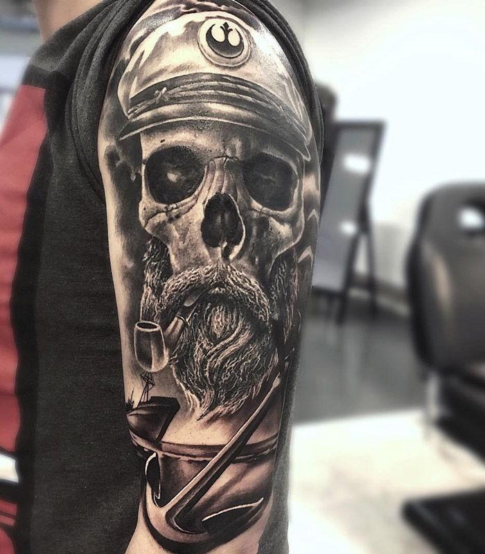 Sea Captain Skull with emblem of the Rebel Alliance