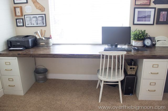 Diy File Cabinet Desk Tutorial Over The Big Moon File Cabinet Desk Diy File Cabinet Home