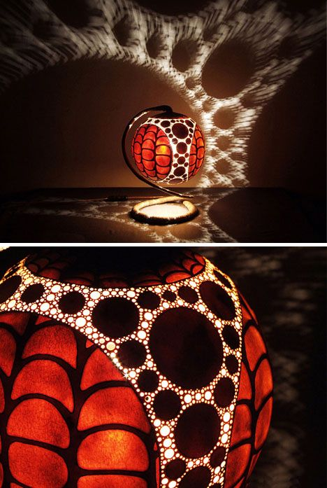 Art circles craft all around these exquisitely carved, drilled and etched gourd shells shipped from Senegal. The elaborate patterns are not just for show, though – they are made to cast spectacular light displaces on interior ceilings, walls and floors.