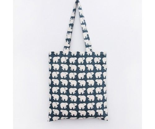vászon bevásárlótáska jegesmedve mintával - vállra akasztható design táska