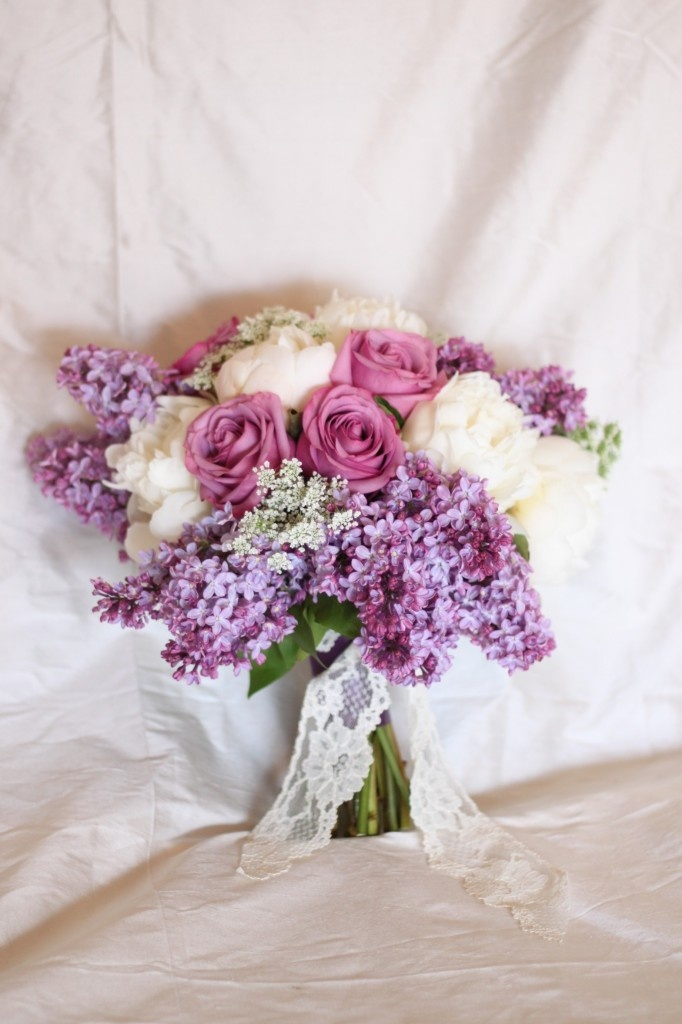 Lavender Bridal Bouquet from Fleur:ology  [lilac, roses, peonies!]  Lace detail on the handle