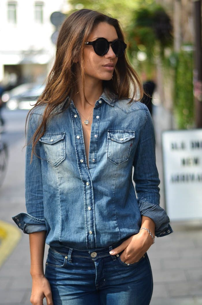 Chambray shirt and jeans, perfect casual outfit Women\u0027s street style fall  fashion clothing outit