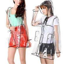 Gratis Verzending Nieuwe Zwarte Transparante Regenjas Runway vrouwen Meisjes Mannen Helder Regen Jas(China (Mainland))