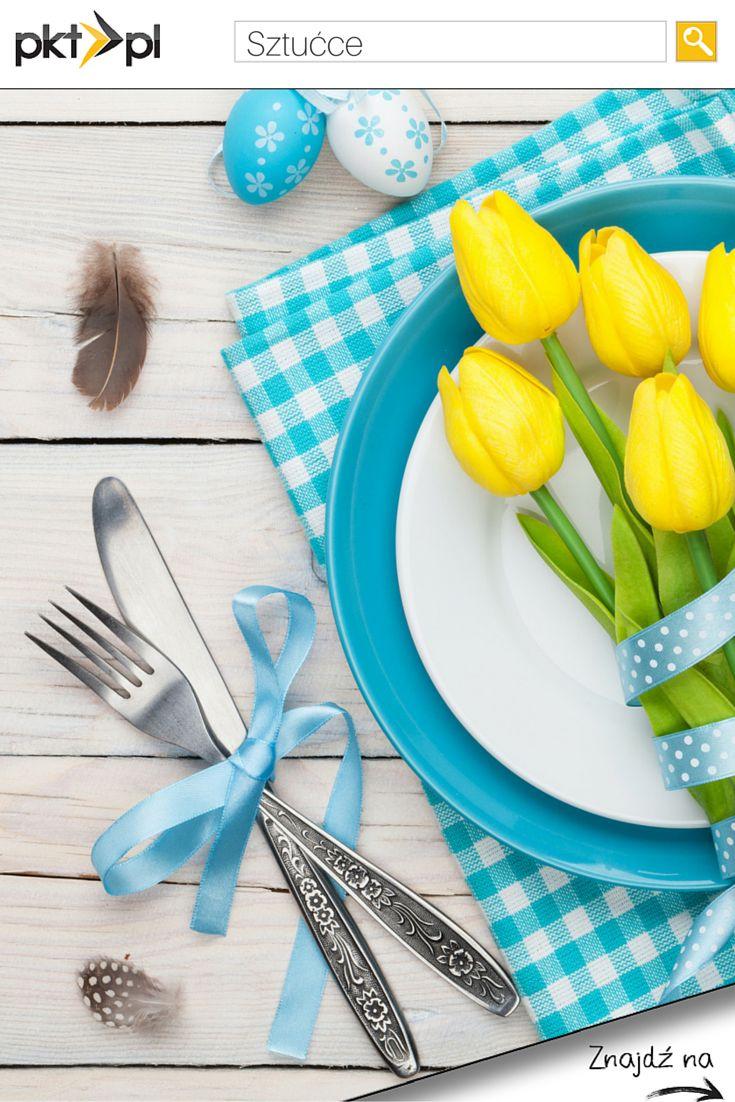 Wielkanocna dekoracja stołu w pięknych, wiosennych kolorach. #zastawa #ceramika #sztućce