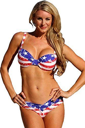 July 4th Women's clothing is hotter than ever  this year for summer 2017. Bold shades  of red, white and blue clothing is not only stylish but sexy. Women's Patriotic clothing has never been so  cute, adorable and stylish. You will love all these summer fashions! Consider getting you some American Flag  clothing and show your love, pride and passion for America this July 4th        American Shaper Bikini Underwire Patriotic USA Bikini - Top 1X