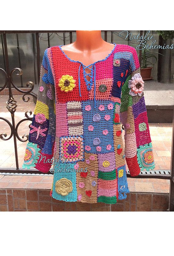 Crochet Tunic Gypsy Boho Blouse Top por CrochetLaceClothing en Etsy