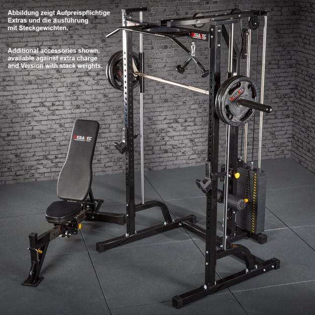 Máquina De Musculación Multipress Tipo Smith Con Estación De Poleas Megatec Gimnasio En Casa Diseño De Gimnasio En Casa Sala De Gimnasio En Casa