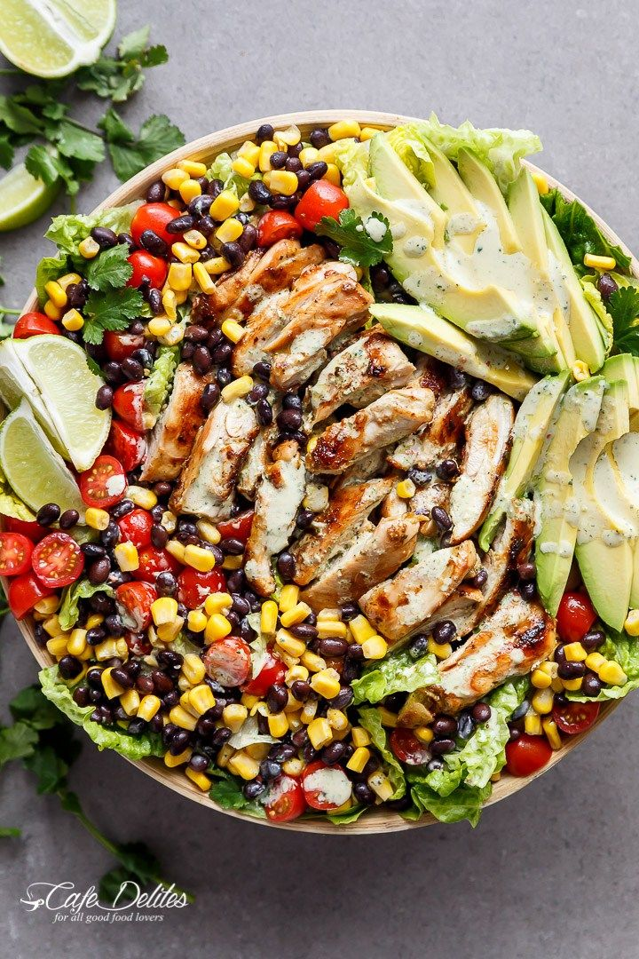 A Chili Lime Southwestern Chicken Salad with a low fat and CREAMY Cilantro Chili Lime Dressing that doubles as a marinade! | http://cafedelites.com