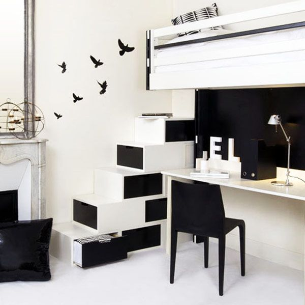 Adorable Under Stairs Storage Smart Review: Ultra Minimalist Staircase Storage Space In Black And White ~ flohomedesign.com Furniture Inspiration