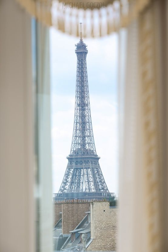 Eiffel Tower view from the Empire Suite at Four Seasons Hotel George V Paris