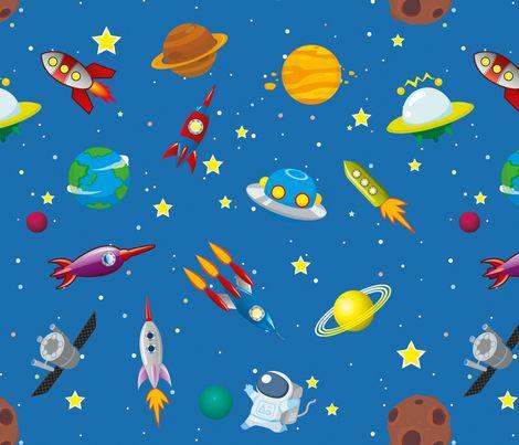 space rocket solar system fabric by seraholland on Spoonflower - custom fabric