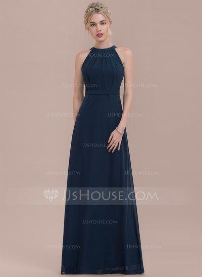 [US$ 105.99] A-Line/Princess Scoop Neck Floor-Length Chiffon Bridesmaid Dress With Ruffle