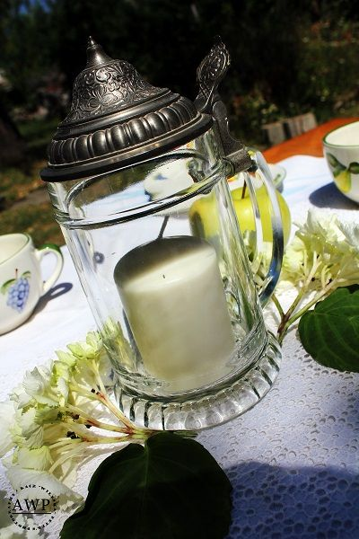 candle with hydrangea