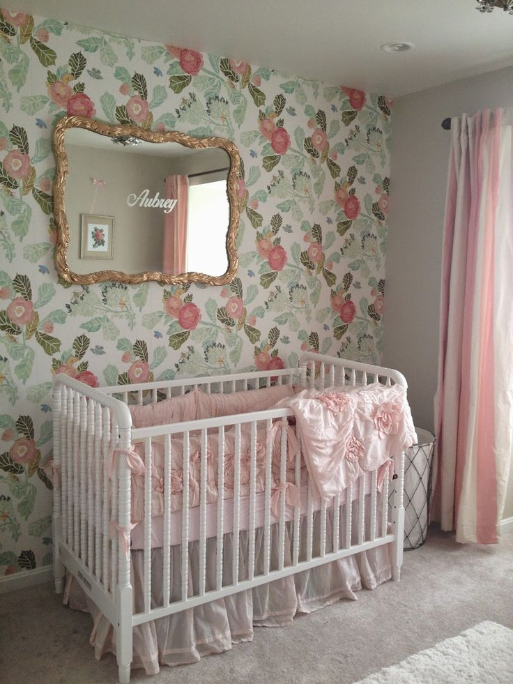 Curtains In The Nursery For Girls Vintage Nursery Girls Nursery Pink Nursery Nursery Decor Mirror