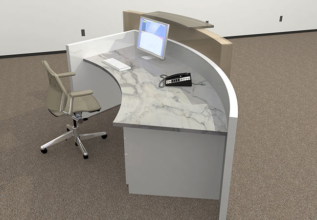 Round Reception Desk Side View Of Custom White Curved