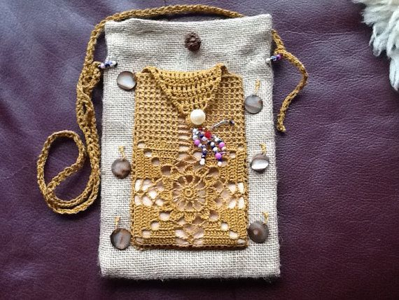 Handmade crocheted mustard yellow iphone sleeve, cover plus attached earthly burlap purse with detachable crossbody 46 strap. felt liner to avoid scratch to phone. Attached back purse, bag is 6 1/2w 9 3/4 long approximately.