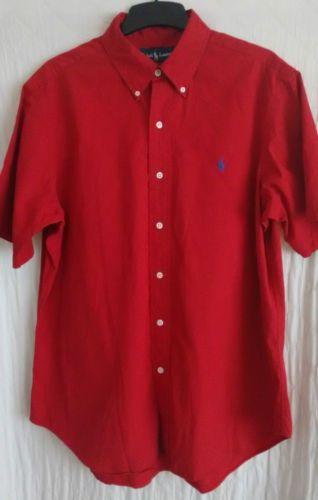 RALPH-LAUREN-mens-s-s-red-cotton-shirt-size-L
