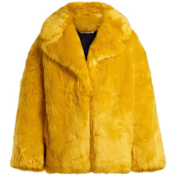 Diane Von Furstenberg Oversized faux-fur jacket ($545) ❤ liked on Polyvore featuring outerwear, jackets, yellow, oversized jacket, open front jacket, fake fur jacket, yellow jacket and diane von furstenberg