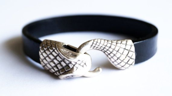 Black leather bracelet silver plated bracelet snake by sestras