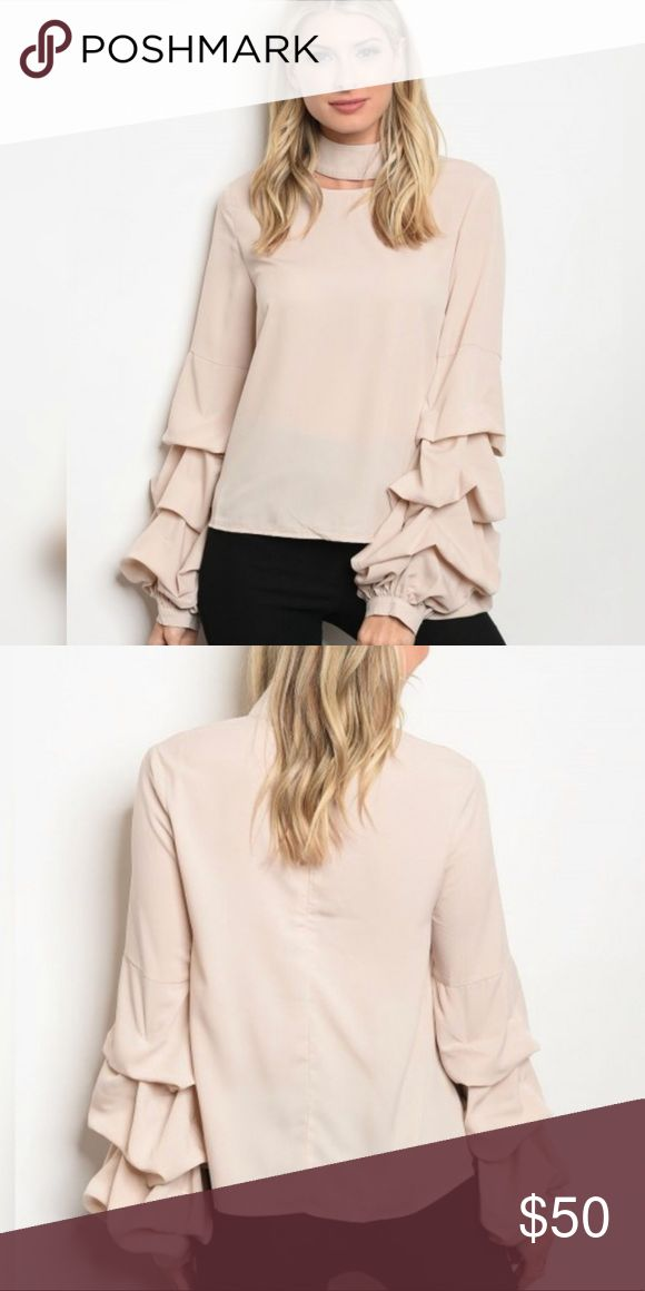 Sheared Bell Sleeve Blouse Sheared bell sleeve style blouse   Brand: Threadzwear  Color: Taupe Fabric content: 100% polyester Condition: NWT Retail Threadzwear Tops Blouses