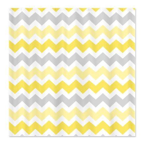 Yellow Grey Chevron Shower Curtain  Yellow And White Curtains