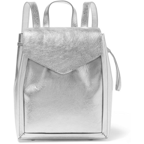 Loeffler Randall Metallic textured-leather backpack (£360) via Polyvore featuring bags, backpacks, silver, zip bags, day pack backpack, metallic bag, cell phone bag and loeffler randall bag