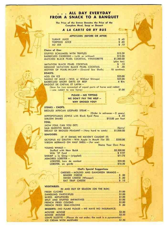 Schuler's Restaurant menu.
