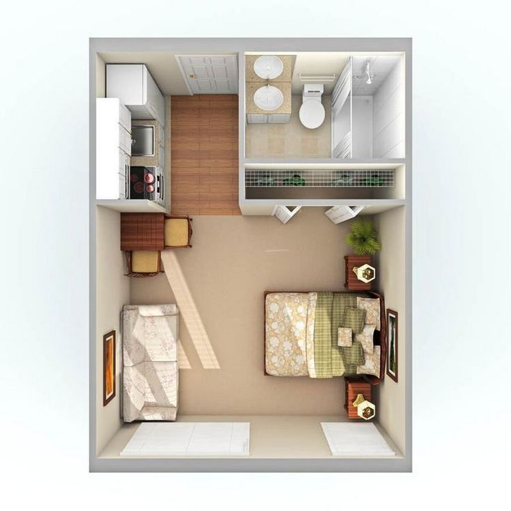 One room apartment layout ideas 67