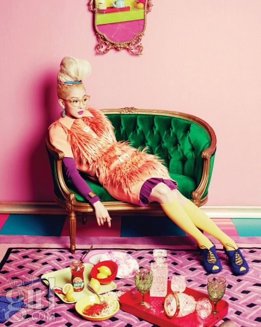 Vogue Girl Korea more fabulous upswept hair and the chaise in emerald green divine!