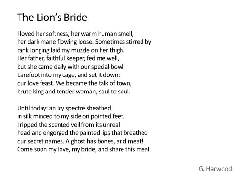 the lions bride gwen harwood Gwen harwood poetry  (iris, the lion's bride)  harwood again finds comfort in the natural wonderland setting of the poem.