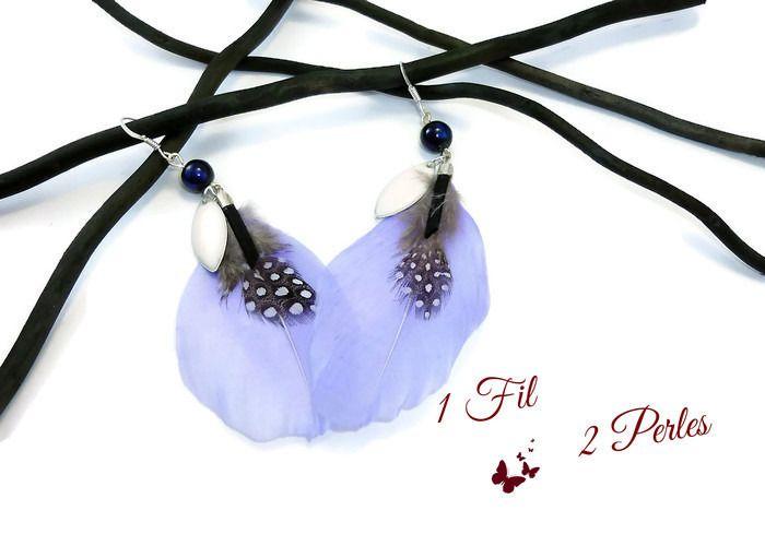 Boucles d'Oreilles Plumes Bleues et Breloques Ethniques : Boucles d'oreille par 1-fil-2-perles