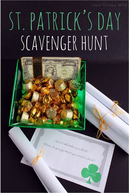The kids would love this!  St. Patrick's Day Scavenger Hunt Activity and Free Printables by Love Grows Wild