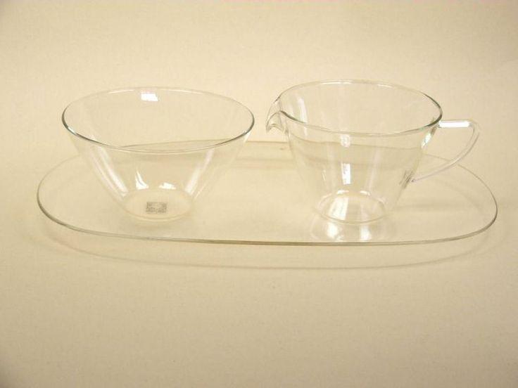 original Jenaer Glas Milch Zucker Set Entwurf H. Löffelhardt post Bauhaus era Ξ