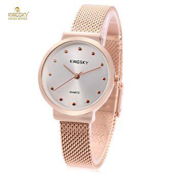 3C KINGSKY 822 Mujer Reloj De Cuarzo De Resistencia Del Agua De Forma De Punto Escala De Acero Inoxidable Net Band Reloj De Pulsera