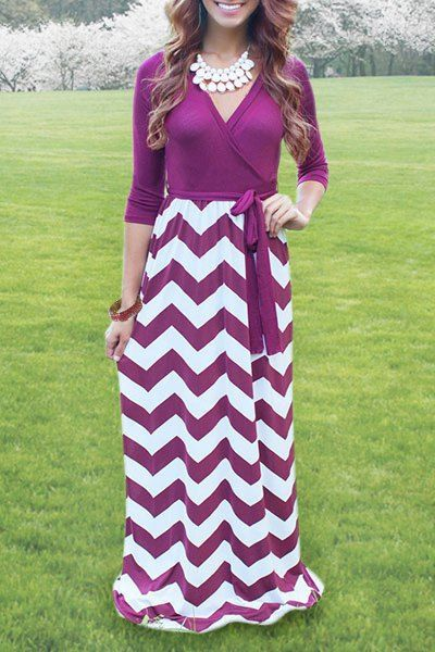 Casual V-Neck Long Sleeve Chevron Print Self-Tie Maxi Dress For Women