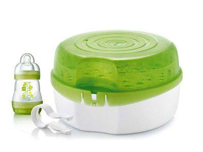 Sterilizzatore microonde MAM con baby bottle. Sterilizza fino a 6 biberon in 5 minuti!