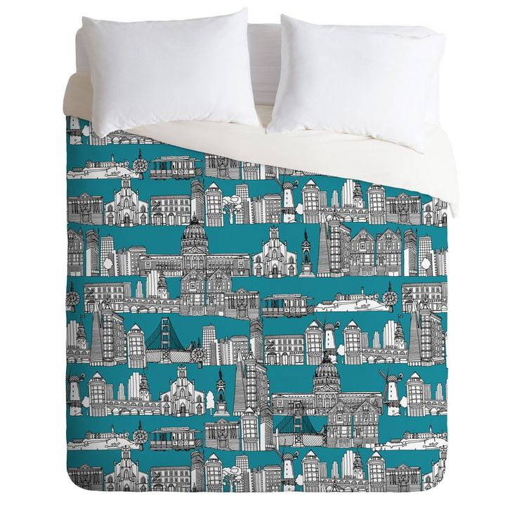 Sharon Turner San Francisco Teal Duvet Cover | DENY Designs Home Accessories