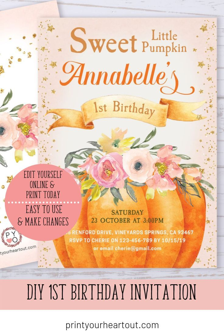 Print Your Own Birthday Invitations This Invitation Template Is Easy To Edit Birthday Invitations Diy 1st Birthday Invitations Printable Birthday Invitations