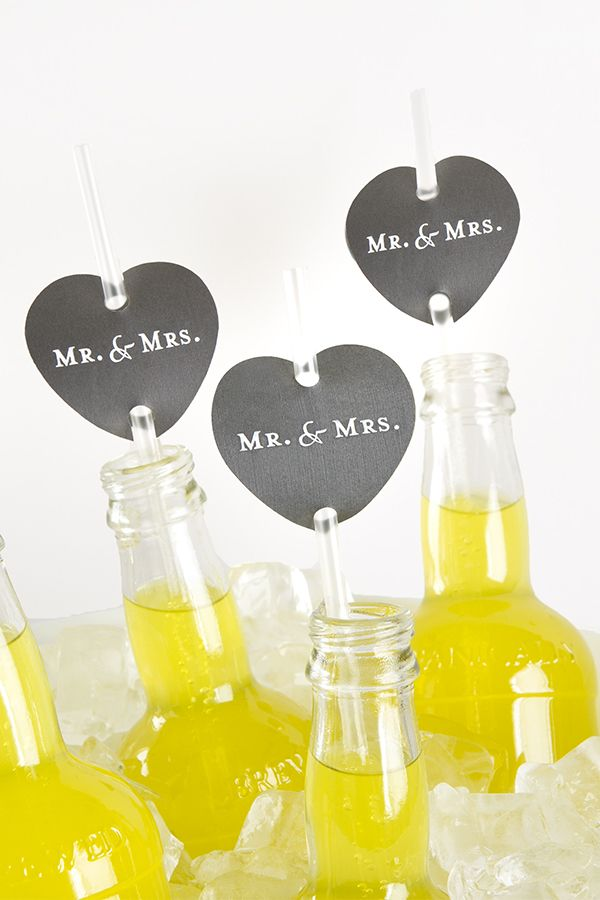 Decorate special event drinking straws with the mark of your occasion with paper heart straw flags from ForYourParty.com.