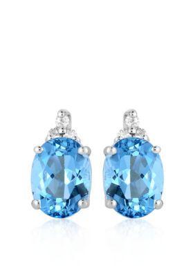 Belk  Co. Blue 10k White Gold Blue Topaz Diamond Earrings